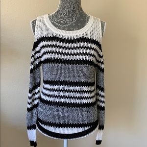 cold shoulder long sleeve striped sweater